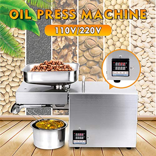 2020 Edelstahl-Öl-Presse-Maschine 220V / 110V LED Digital Temperaturregelung Peanutss Sesame Nussöl Extractor EU/US-Stecker 2020 (Voltage : 110V)