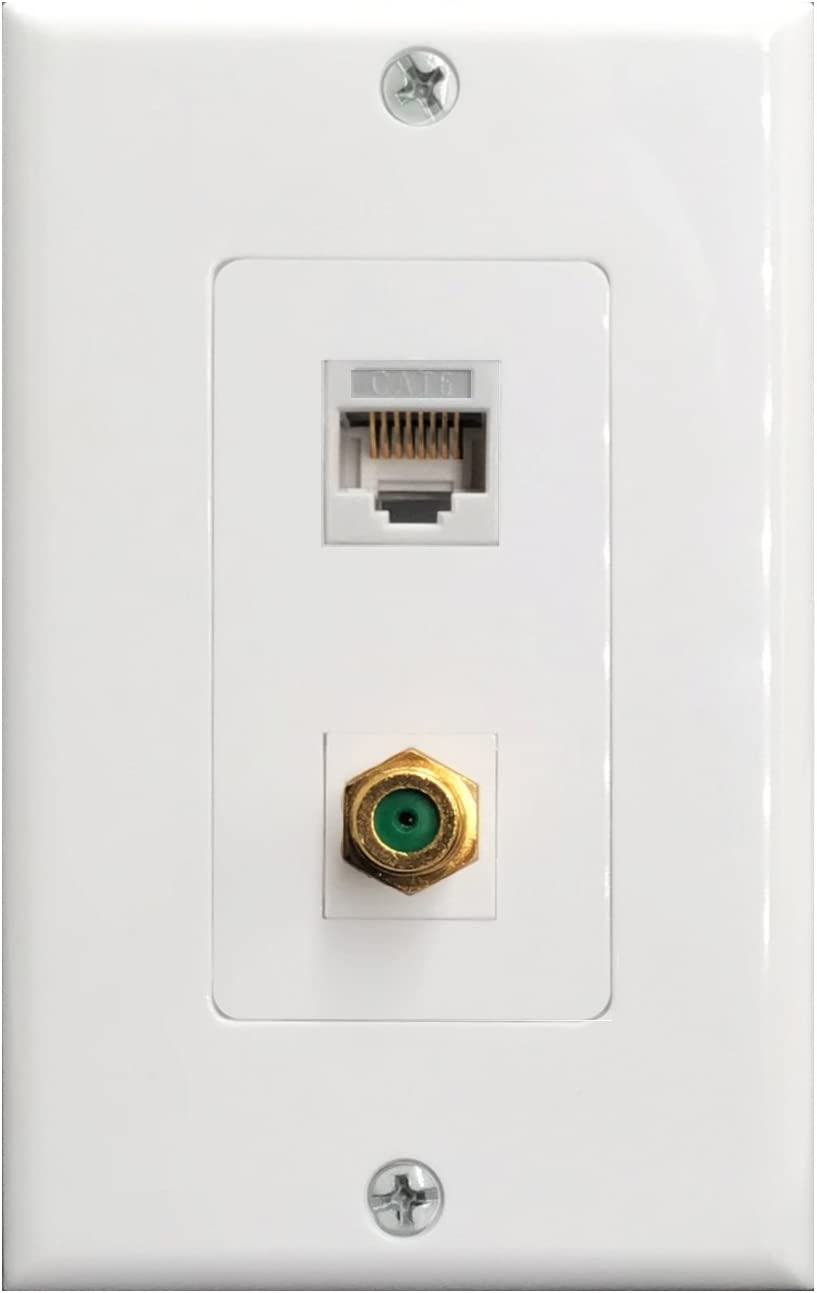 Amazon.com: RJ45 Cat6 Ethernet Port and Gold Plated Brass Cable TV Coax F  Type Port Wall Plate : Electronics