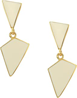 Polished Enamel Geometric Drops Pierced Earrings