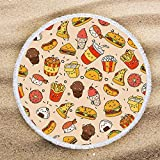 "ARIGHTEX Funny Junk Food Beach Towel Blanket with Tassels Burgers Pizza Fast Food Print Teens Girls Fashion Round Yoga Mat 60"" Teen Girl Gifts"