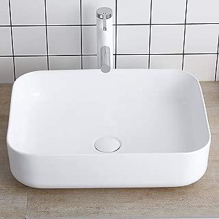 Rectangular White Porcelain Ceramic Sink Bathroom Vessel Sink 19 Inch - Bathroom Vanity Bowl Above Counter Sink Art Basin Lalasani Kitchen Sink Fireclay Farmhouse Sink