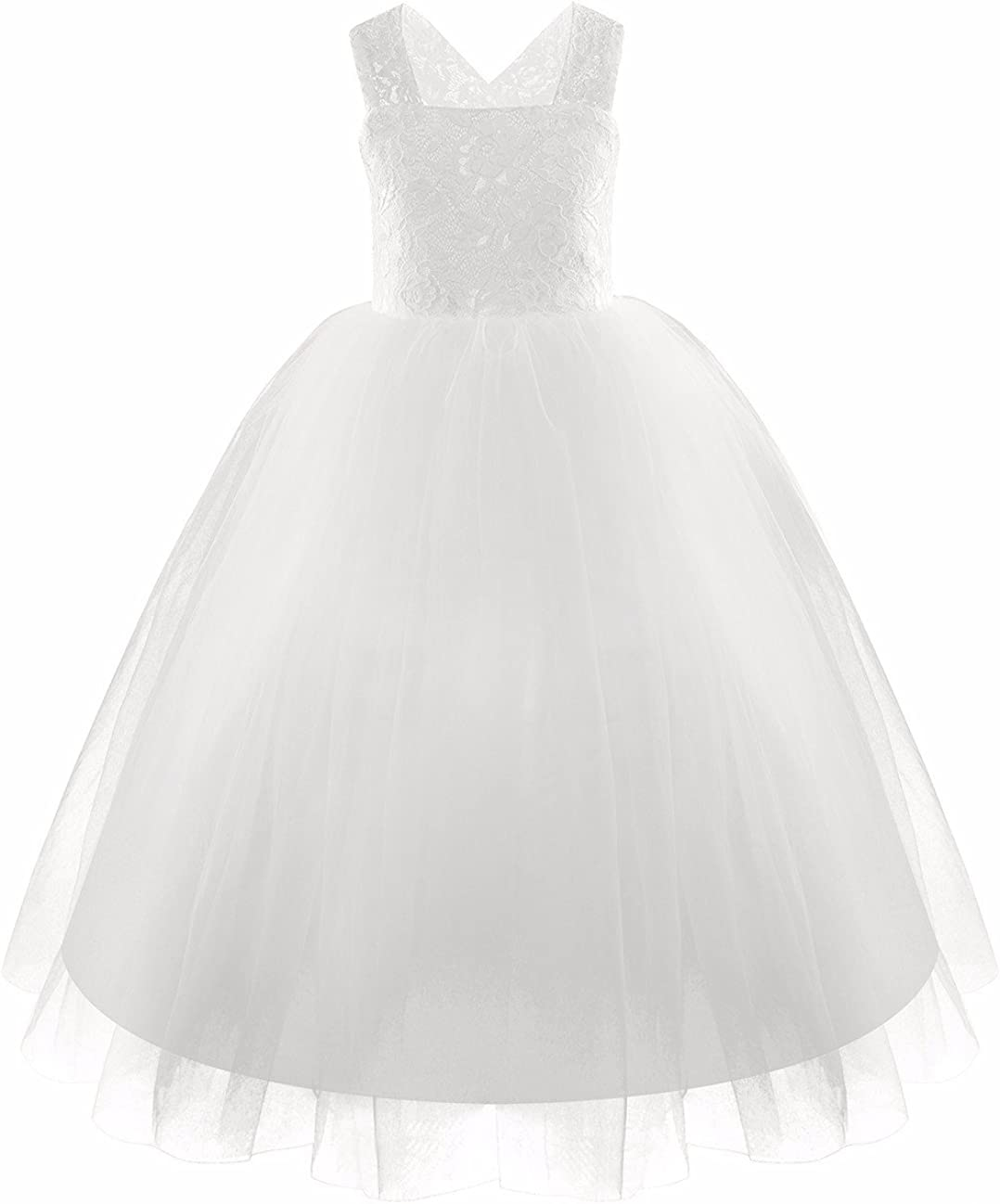 YiZYiF Kids Girls Lace Floral Tulle Flower Girl Dress Wedding Formal Party Ball Gowns