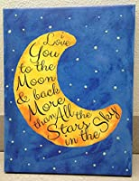 Adorable 'I Love you to the Moon and Back' with Glow in the Dark Stars; Children's Room Decor; One 11x14 Hand-Stretched Canvas by Gango Home Decor