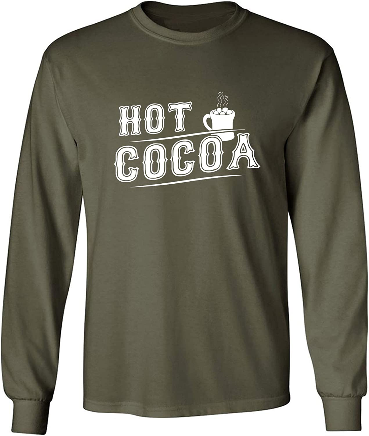 Hot Cocoa Adult Long Sleeve T in Miltary Green - XXXX-Large