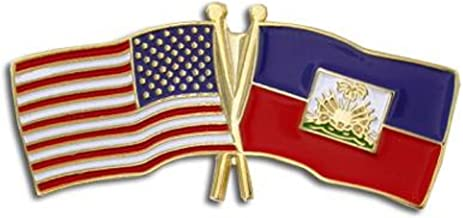 PinMart USA and Haiti Crossed Friendship Flag Enamel Lapel Pin