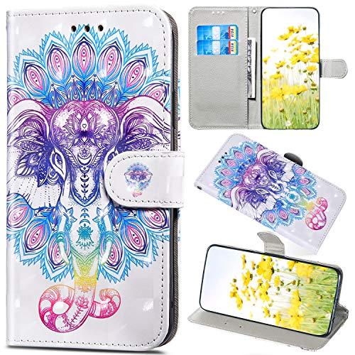 Saceebe Compatible avec Sony Xperia 1 Housse en Cuir Coque Fille Glitter Paillettes 3D Effet Portefeuille Pochette Étui Flip Case Magnétique Clapet avec Fonction de Support,Éléphant
