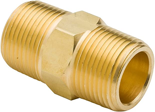 Pack of 5 1//8 NPT Male x 1//8 NPT Male Vis Brass Pipe Fitting Equal Hex Nipple