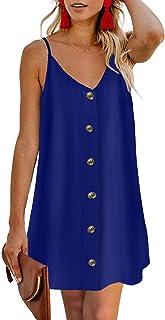 CILKOO Women Summer Spaghetti Strap Button Down V Neck Sleeveless Casual Mini Dress