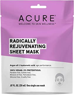 ACURE Radically Rejuvenating Sheet Mask | 100% Vegan | Provides Anti-Aging Support | Argan Oil & Hyaluronic Acid - Hydrates & Nourishes | 5 Count
