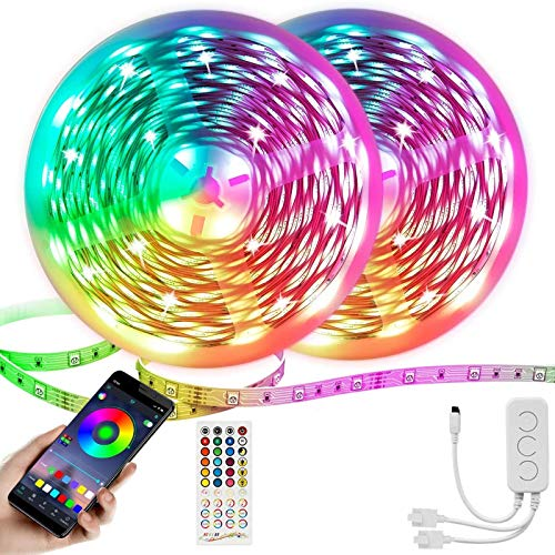 Led Strip Lights 65.6Ft/20M RGB Strips 5050 LEDs Flexible Tape Lights Music Sync Color Changing with 40 Keys Remote + APP Controller for Home, Bedroom, TV, Kitchen Decoration