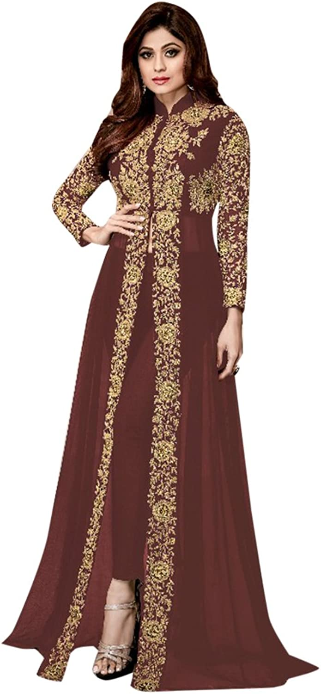 Ready to wear Indian Bollywood Collection Women Brown Anarkali Salwar Muslim Punjabi Party wear 2625 1