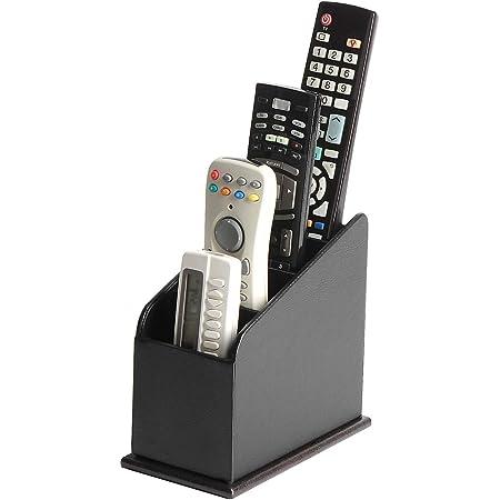 JackCubeDesign 4 Compartments Black Leather Remote Control Organiser Holder, Controller TV Guide, Media Storage Box - MK292A
