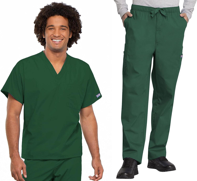 Workwear Revolution Men & Women Scrubs Set V-Neck Top 4777 & Drawstring Pant 4000T (Hunter, L/L Tall)