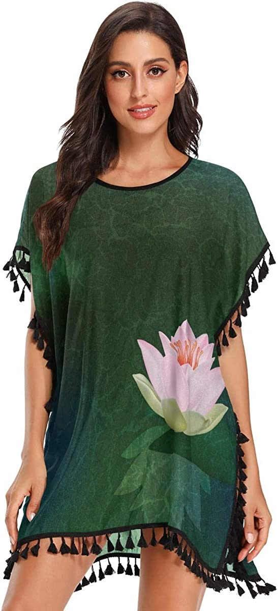 Swimsuit Cover Ups for Women,Abstract Floral Illustration with Pink Lotus Green Swimsuit Cover up Summer Beach Cover up