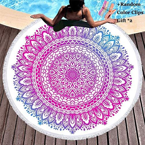 Decoración del hogar Toalla de playa redonda Bohemia Hippie Mandala Manta Tapiz Mantel Meditación Esterilla de yoga Baño de viaje Microfibra Chal Roundie Protector solar Camping (150x150cm Bohemio
