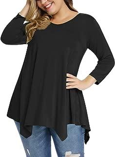 Plus Size Women Tunic Tops 3/4 Sleeve Shirt for Legging