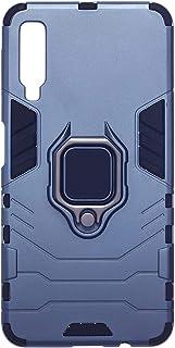 جراب خلفي قوي للحماية مزود بحلقة معدنية ل سامسونج جالاكسي A7 2018 من ايرون مان - كحلي اسود