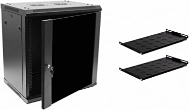 NavePoint 12U Deluxe IT Wallmount Cabinet Enclosure 19-Inch Server Network Rack With Locking Glass Door 16-Inches Deep Black With Shelves