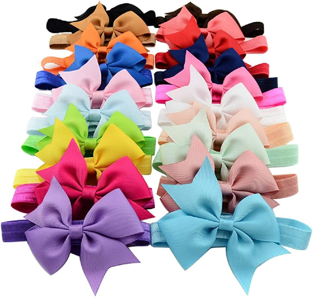 Baby Girls Nylon Headbands, IIS Chiffon Flowers Bows Newborn Infant Toddler Hairbands and Child Hair Accessories (Multicolored-6-20PCS)