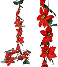 BANBERRY DESIGNS Poinsettia Flower Garlands -Set of 2 Strands Approx 74 Inches Long -Red Poinsettias Christmas Decorations...