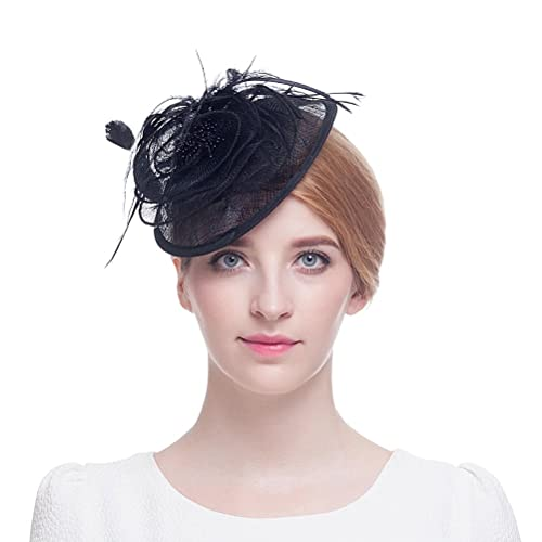 Valdler Womens Feather Mesh Net Sinamay Fascinator Hat with Hair Clip Tea  Party Derby ede41960821