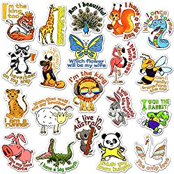 Encouraging Animal Stickers for Water Bottle for Kids Waterproof Vinyl Stickers Pack(50 Pcs)