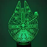 ETHAN ALLEN Optical Illusion 3D Glow LED Lighting Toys Nightlight with 7 Colors Changing Decor Lamp (Star Wars Millennium Falcon Model)