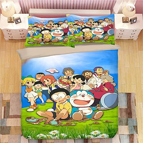 NICHIYO Doraemon - Juego de cama de 3 piezas con funda nórdica 3D - Juego de 3 piezas (funda nórdica + 2 fundas de almohada), grueso y suave, 02, Single 140x210cm