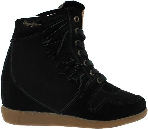 Pepe Jeans Chaussure Bottine Frange Noir 999 Femme