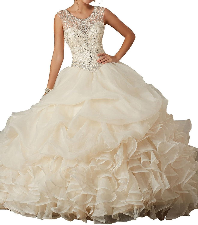 MCandy New Women Beads vestido de Ball Gowns Wedding Girls Quinceanera Dresses