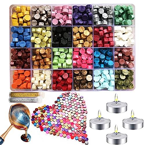 Cera per Sigilli Kit,Sigillo Ceralacca,600 Perline di Ceralacca Ottagonali Sigillo Perline di Cera Sealing Wax,24 Colori Wax Seal con 4 Candele e 1 Cucchiaio per Cera per Timbro di Cera Busta