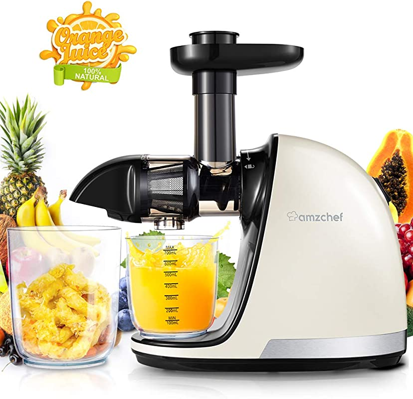 Slow Juicer AMZCHEF Slow Masticating Juicer Extractor Professional Machine With Quiet Motor Reverse Function Cold Press Juicer With Brush For High Nutrient Fruit Vegetable Juice