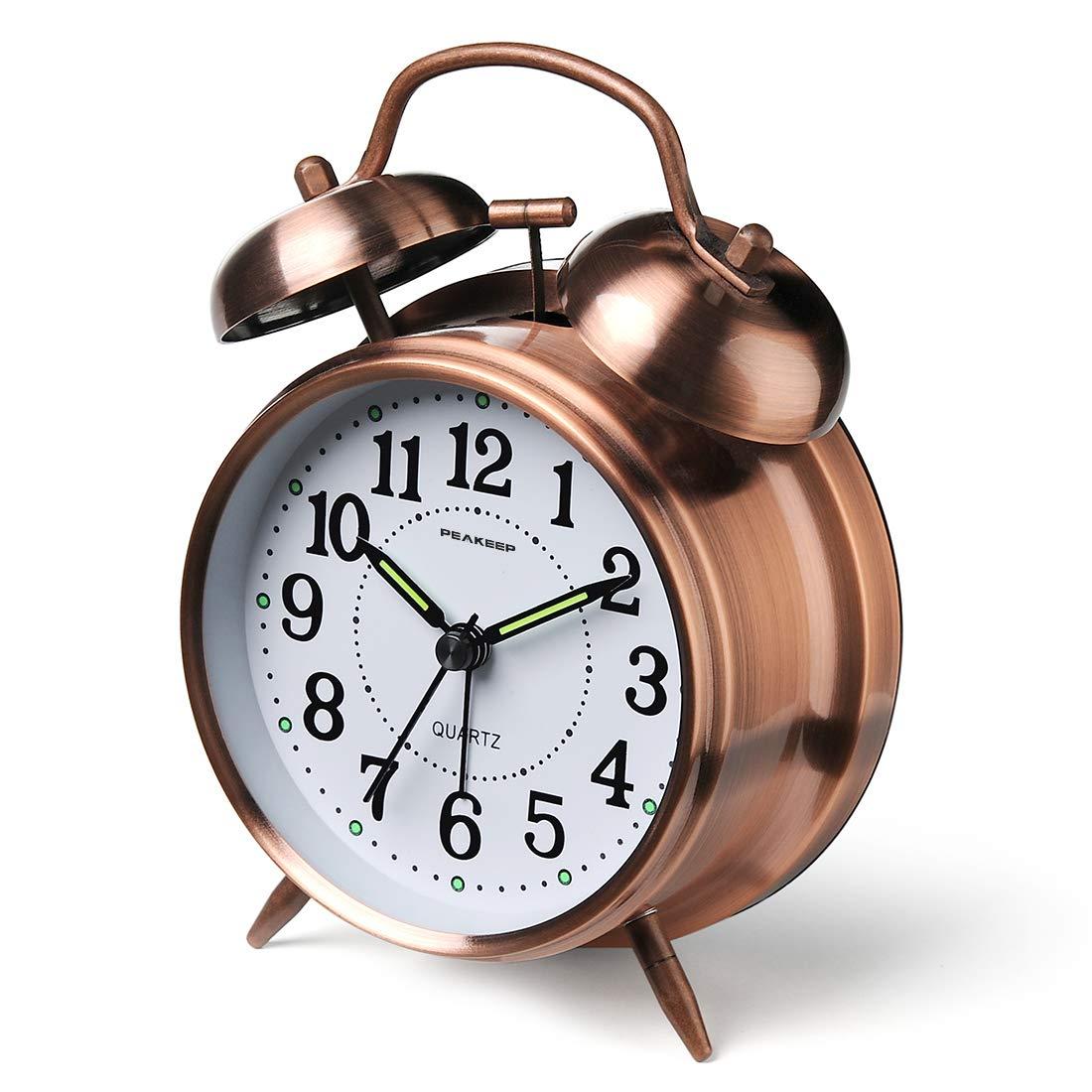 Peakeep Twin Alarm Clock Red Brown