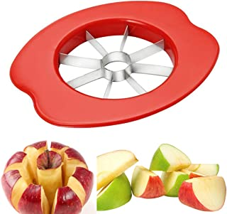 Apple Slicer, Apple Slicer Cutter with 8 Stainless Steel Blades,Apple Corer and Divider, Perfect Handheld Fruit Tool for Apples and Pears1 Pcs (6.4x5.5x0.7, Red) Perfect for Gift and Daily use