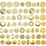 60 Piece Inspiration Words Charms Craft Supplies Pendants Beads Charms Pendants for Jewelry Making Crafting Findings Accessory for DIY Necklace Bracelet (Gold)