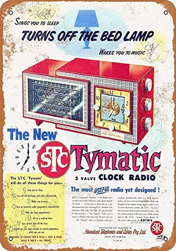 Tymatic Reloj Radio Cartel de pared de hojalata Señal de advertencia Placa de hierro retro de metal Pintura Arte Decoración para el hogar Pub Oficina 30x40cm