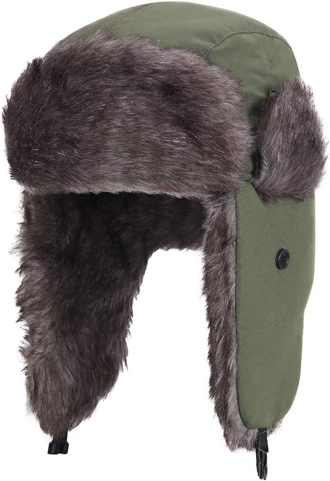 Verde Militar Kappha Gorra de Invierno Unisex con Orejeras Sombrero de Cazador Impermeable a Prueba de Viento Sombrero de Bombardero Gorra de Aviador Unisex Sombrero de Piel Adulto para Hombres