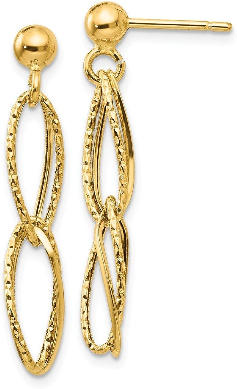 Beautiful Yellow gold 14K Yellowgold 14k gold Polished Textured Post Dangle Earrings