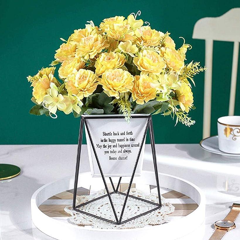 注釈を付けるニッケル取り組む造花 牡丹 花瓶付き 観葉植物 本物にそっくり 美しい プレゼント お祝いに 結婚式 リビング ベランダ 玄関 喫茶店 置物 枯れない花 お部屋が明るくなる イエロー