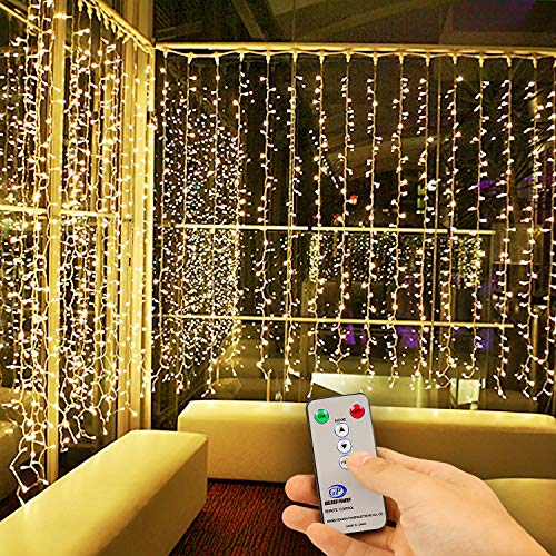 Kohree LED Curtain Lights, Hanging Wedding Light Remote Control Outdoor Indoor Icicle Flashing String Lights for Bedroom, Christmas, Party Decorations, Warm White, 300 Led