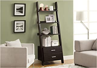 Monarch Specialties I 2542, Bookcase, Ladder with 2-Storage Drawers, Cappuccino, 69