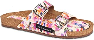 Colour Me Mad Purple Printed, Natural Cork, Washable, All Weather, Vegan, Made in India, PETA Certified, Changeable Insole, Women Sandals (Slider)