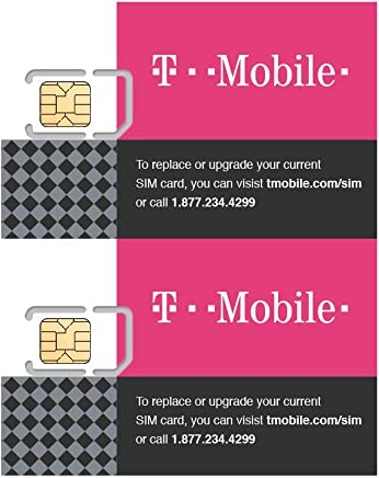 (2 Pack) Authentic Official T-Mobile SIM Card Micro/Nano/Standard GSM 4G/3G/2G LTE Prepaid/Postpaid Starter Kit Unactivated Talk Text Data & Hotspot