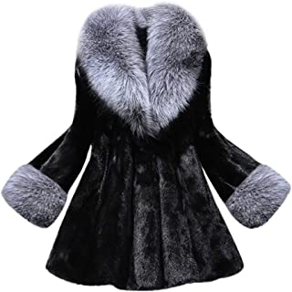JMETRIE ❄ Women's Long Section of Imitation Mink Fox Coat with Cap Fur Coat Jacket