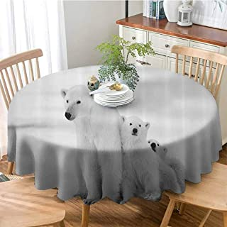 Sea Animals Decor Collection Water Resistance Microfiber Tablecloth Polar Bear Family with Two Small Bear Cubs ARound Snow Cold Winter North Image Print Round Table Cover for Outdoor and Indoor 47
