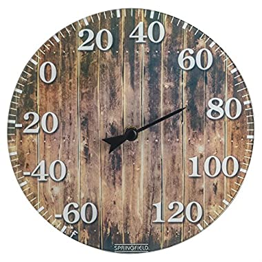 Springfield Barn Wood Glass Thermometer (10-inch)