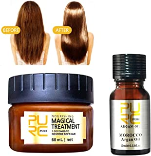 99AMZ Magical Treatment Mask Repairs Damage Restore Soft Hair 60ml + 10ml Acondicionador Serum for All Hair Types Keratin ...