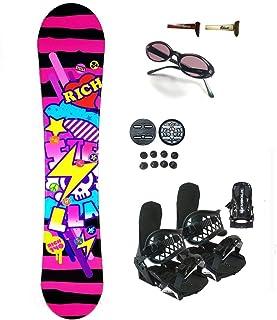 Symbolic 144cm Stella Rich Pink Snowboard Bindings+Shades+Burton Decal Package (Bindings Black XS (fit 1-5), 140cm Stella Rich az44)