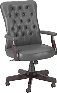Bush Business Furniture Arden Lane High Back Tufted Office Chair with Arms, Dark Gray Leather