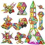Crenova Magnetic Blocks, 98PCS Rainbow Building Blocks Basic Construction Set Educational Magnetic Tiles STEM Toy for Boys Girls Age 3 4 5 6 7 8 Year Old